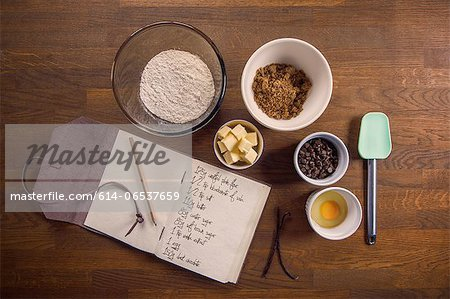 Bowls of ingredients for recipe Stock Photo - Premium Royalty-Free, Image code: 614-06537659