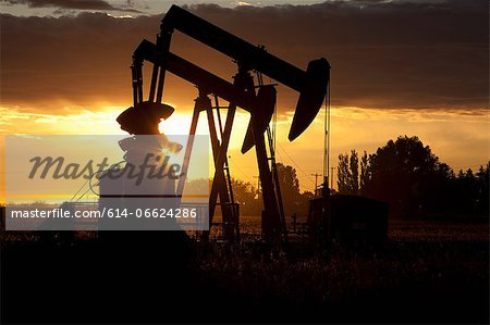 Silhouette of oil wells at sunset Stock Photo - Premium Royalty-Free, Image code: 614-06624286