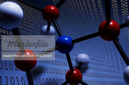 Illustration of molecules and binary Stock Photo - Premium Royalty-Free, Image code: 614-06625109