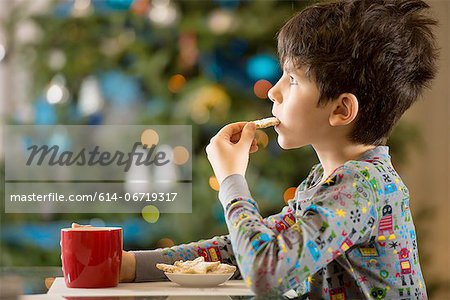 Boy eating Christmas cookies Stock Photo - Premium Royalty-Free, Image code: 614-06719317
