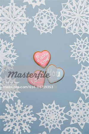 Illustration of heart shaped cookies Stock Photo - Premium Royalty-Free, Image code: 614-06719353