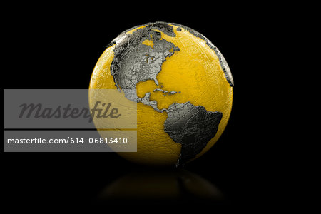Yellow and black globe North and South America Stock Photo - Premium Royalty-Free, Image code: 614-06813410