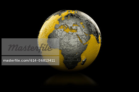 Yellow and black globe Europe and Africa Stock Photo - Premium Royalty-Free, Image code: 614-06813411
