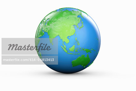 Blue and green globe of Asia and Australia Stock Photo - Premium Royalty-Free, Image code: 614-06813413