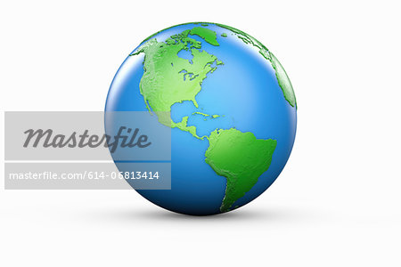 Blue and green globe of North and South America Stock Photo - Premium Royalty-Free, Image code: 614-06813414