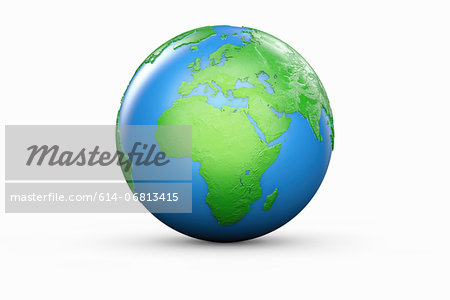 Blue and green globe of Europe and Africa Stock Photo - Premium Royalty-Free, Image code: 614-06813415
