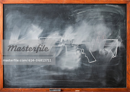 Partially erased chalk drawing of gun on blackboard Stock Photo - Premium Royalty-Free, Image code: 614-06813711