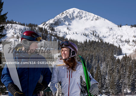 Young couple at Brighton ski resort, Utah, USA Stock Photo - Premium Royalty-Free, Image code: 614-06814369