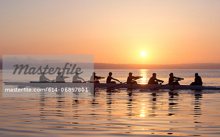 Nine people rowing at sunset Stock Photo - Premium Royalty-Free, Image code: 614-06897801