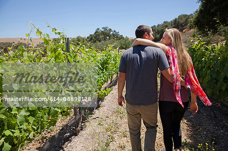 Young couple on path in vineyard, woman with arm around man Stock Photo - Premium Royalty-Free, Image code: 614-06898128