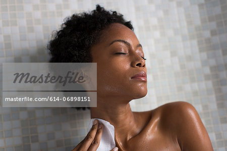 Woman relaxing after bath Stock Photo - Premium Royalty-Free, Image code: 614-06898151