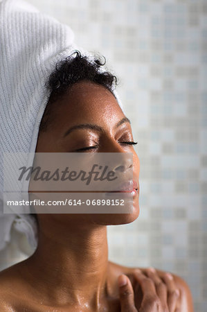 Woman relaxing after bath Stock Photo - Premium Royalty-Free, Image code: 614-06898152