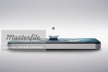 Smart phone with water crown droplet and ripple on screen Stock Photo - Premium Royalty-Free, Image code: 614-06974081