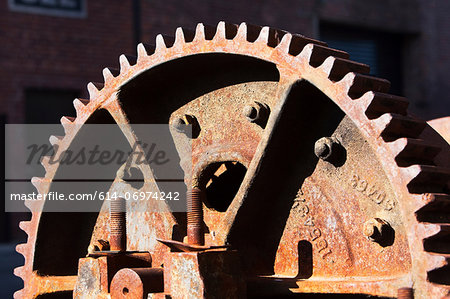 Close up detail of rusting cogwheel Stock Photo - Premium Royalty-Free, Image code: 614-06974242
