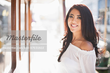 Portrait of young woman on yacht, San Francisco, California, USA Stock Photo - Premium Royalty-Free, Image code: 614-07031922