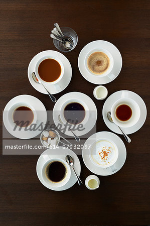 Still life with selection of coffees in cups Stock Photo - Premium Royalty-Free, Image code: 614-07032097