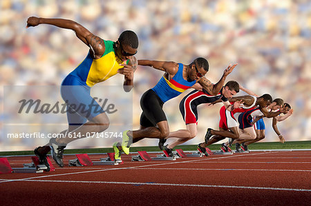 Six athletes starting race Stock Photo - Premium Royalty-Free, Image code: 614-07145744