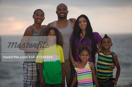 Portrait of family with four children Stock Photo - Premium Royalty-Free, Image code: 614-07146369