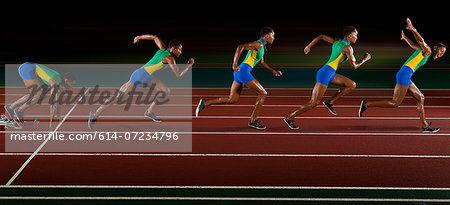 Multi exposure of young woman in sprint sequence Stock Photo - Premium Royalty-Free, Image code: 614-07234796