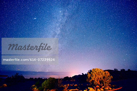 Stars in night sky, Moab, Utah, USA Stock Photo - Premium Royalty-Free, Image code: 614-07239924