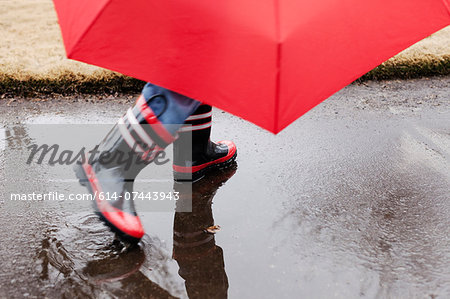 Wellingtons and umbrella Stock Photo - Premium Royalty-Free, Image code: 614-07443943