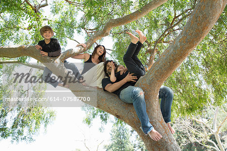 Portrait of family with two boys climbing on park tree Stock Photo - Premium Royalty-Free, Image code: 614-07587700