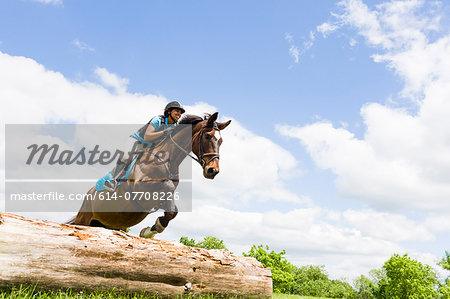 Horse rider jumping on horse Stock Photo - Premium Royalty-Free, Image code: 614-07708226