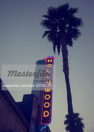 Hollywood neon sign, Los Angeles, California, USA Stock Photo - Premium Royalty-Free, Image code: 614-07735132