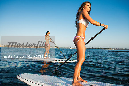 Two women stand up paddleboarding, Mission Bay, San Diego, California, USA Stock Photo - Premium Royalty-Free, Image code: 614-07911742