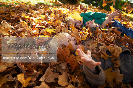 Two boys playing in pile of leaves Stock Photo - Premium Royalty-Free, Image code: 614-08030436