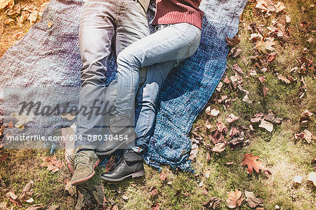 Overhead view of legs of couple lying on blanket in forest Stock Photo - Premium Royalty-Free, Image code: 614-08030454