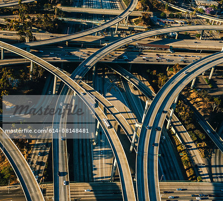 Aerial view of flyovers and multi lane highways, Los Angeles, California, USA Stock Photo - Premium Royalty-Free, Image code: 614-08148481