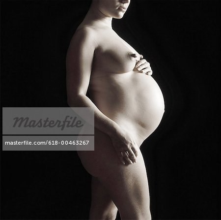 a nude pregnant woman holding her stomach (black and white) Stock Photo - Premium Royalty-Free, Image code: 618-00463267