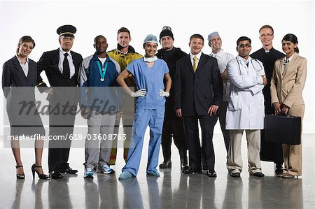 Variety of professionals standing together Stock Photo - Premium Royalty-Free, Image code: 618-03608763
