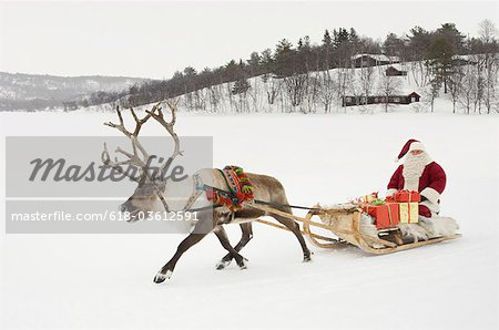 A reindeer pulling Santa Claus and his sleigh of presents Stock Photo - Premium Royalty-Free, Image code: 618-03612591