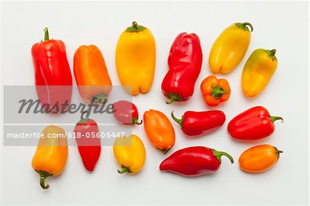 Sweet chilli peppers on white background Stock Photo - Premium Royalty-Free, Image code: 618-05605447