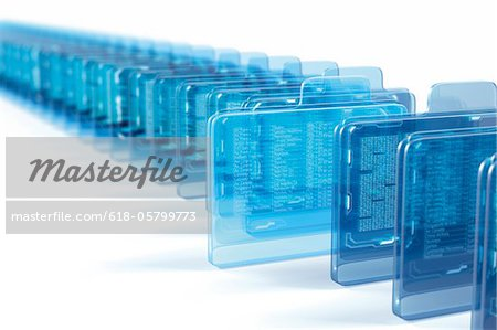Row of virtual folders with data inside Stock Photo - Premium Royalty-Free, Image code: 618-05799773