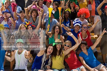 Fans at soccer game in Cape Town, South Africa Stock Photo - Premium Royalty-Free, Image code: 618-05800168