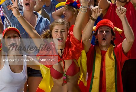 Spanish fans at soccer game in Cape Town, South Africa Stock Photo - Premium Royalty-Free, Image code: 618-05800173