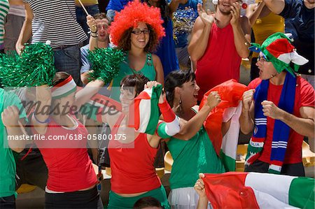 Italian fans at soccer game in Cape Town, South Africa Stock Photo - Premium Royalty-Free, Image code: 618-05800175