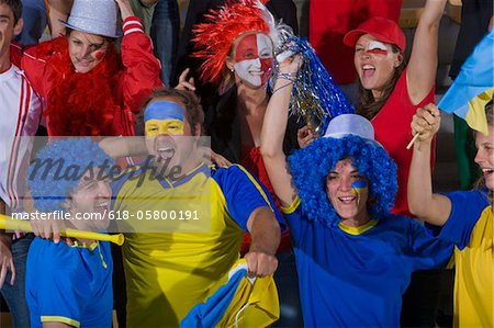 Ukrainian fans at soccer game in Cape Town, South Africa Stock Photo - Premium Royalty-Free, Image code: 618-05800191