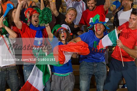 Italian fans at soccer game in Cape Town, South Africa Stock Photo - Premium Royalty-Free, Image code: 618-05800193