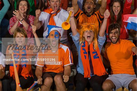Dutch fans at soccer game in Cape Town, South Africa Stock Photo - Premium Royalty-Free, Image code: 618-05800196