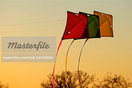 kites on evening sky Stock Photo - Premium Royalty-Free, Image code: 618-06538584