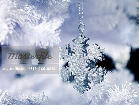 Silver Snowflake Decoration Stock Photo - Premium Royalty-Free, Image code: 618-06618219