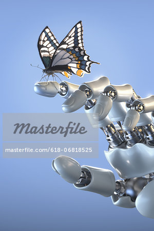 Butterfly standing on fingertip of a robot hand Stock Photo - Premium Royalty-Free, Image code: 618-06818525