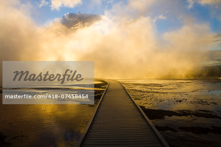 Boardwalk in Yellowstone Hot Springs Stock Photo - Premium Royalty-Free, Image code: 618-07458454