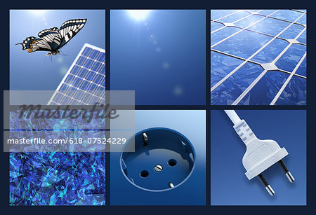 Multipicture for solar energy Stock Photo - Premium Royalty-Free, Image code: 618-07524229