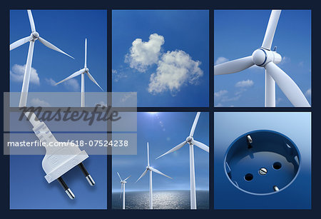Multipicture for wind power Stock Photo - Premium Royalty-Free, Image code: 618-07524238