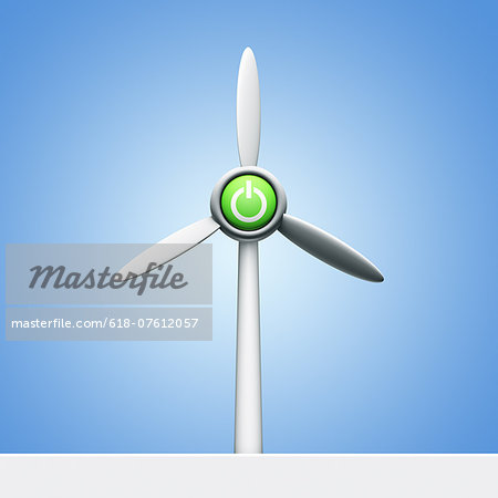 Power button on a wind turbine Stock Photo - Premium Royalty-Free, Image code: 618-07612057